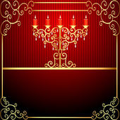 Background with burning candles and gold ornamentation — Stockvektor