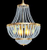 Chandelier with crystal pendants — Stock Vector