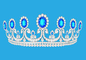 Beautiful diadem feminine wedding on we turn blue background — Stock Vector
