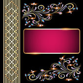 Background with precious stones, gold pattern for invitation — Stock Vector