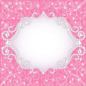 Pink background with pearls, for inviting — Stock Vector
