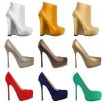Set of women's shoes with heels — Stock Vector #28874065