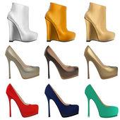Set of women's shoes with heels — Stock Vector