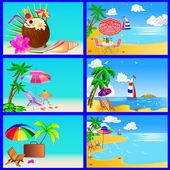 ヨットの椅子と傘ヤシと海のビーチ — ストックベクタ