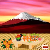Des rouleaux de sushi avec verdure sur l'arrière-plan du fujiyama — Vecteur