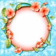 Background frame with flowers in circle — Stock Vector