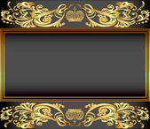 Vintage background frame with gold ornaments and a crown — Stock Vector