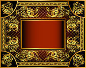 Vintage background frame with gold ornaments and a grid — Stock Vector