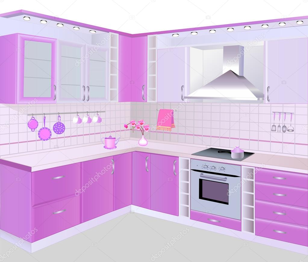 Interior de cocina con muebles de color rosa y azulejos for Muebles rosas