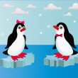 Illustration penguins on block of ice with bow — Imagen vectorial