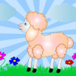 Illustration sheep on background of the nature and flower — Stock Vector