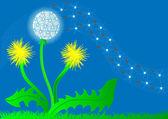 Illustration background flower dandelion and flying fuzz — Stock Vector