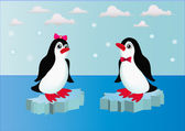 Illustration penguins on block of ice with bow — Stock Vector