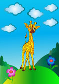 High, nice young giraffe cost(stand)s on hillock — Stock Vector