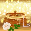 background casket with pearls and a rose — Stock Vector