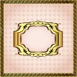 Of a pink background framed with pearls and gold ornamentation — Stock Vector