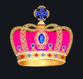 Corona de oro con joyas — Vector de stock