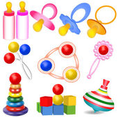 Of a set of children with Tits toys Yul and rattles — Stock Vector
