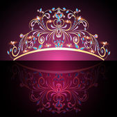 Crown tiara womens gold with precious stones — Vetorial Stock