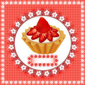 Background with a fruity dessert cake with strawberries — Stock Vector