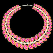 Woman's necklace with pink jewels on black — Vettoriale Stock