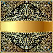 Una cornice sull'oro di sfondo, un modello e diamanti e stelle — Vettoriale Stock