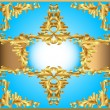 blue background painting frame, with ornaments of gold — Stok Vektör