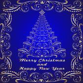 Fond avec or abstrait arbre de Noël — Vecteur