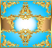 Blue background painting frame, with ornaments of gold — Stock Vector