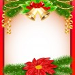 background Christmas with flower bells and fir branches — Stockvectorbeeld