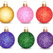 Set of Christmas balls on a white background — Stock Vector
