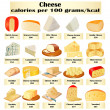 Stock Vector: Of set of different kinds of cheese with calories