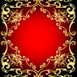 Red background is a frame with gold ornamentation — Stock Vector