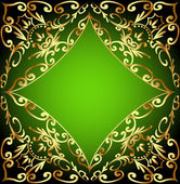 Green background frame with gold ornamentation — Stock Vector
