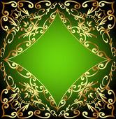 Zelené pozadí snímku se zlatými ornamenty — Stock vektor