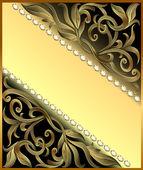 Backgroundwith precious stones, golden ornament — Stock Vector
