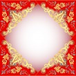 Stock Vector: Red background with gold ornament and precious stones
