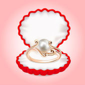 Ring with pearls in the red box — Stockvektor