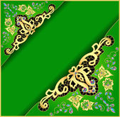 Green background with gold ornament and precious stones — Stock Vector