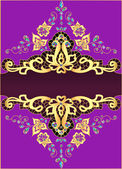 Lilac background with gold ornament and precious stones — Stock Vector