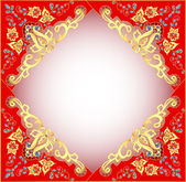 Red background with gold ornament and precious stones — Stock Vector