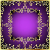 Purple background with gold ornament and precious stones — Stock Vector
