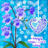 Postcard with orchids and heart on Valentine's day — Vecteur