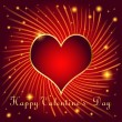 Postcard on Valentines day with hearts of gold color in the ray — Stockvector