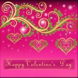 Pink postcard on Valentines day with pendants hearts chain of g — Cтоковый вектор