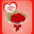 Of a postcard on Valentines day with a bouquet of roses and wit — Stockvector