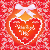 Of a postcard on Valentine's day with the heart and ornament — Stock Vector