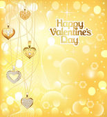 Postcard on Valentines day with pendants hearts chain of gold co — Vecteur