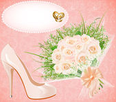 Background with shoes bouquet and rings for wedding invitation — Vecteur