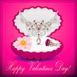 Stock vektor: Of a postcard on Valentines day with a necklace ring flower and
